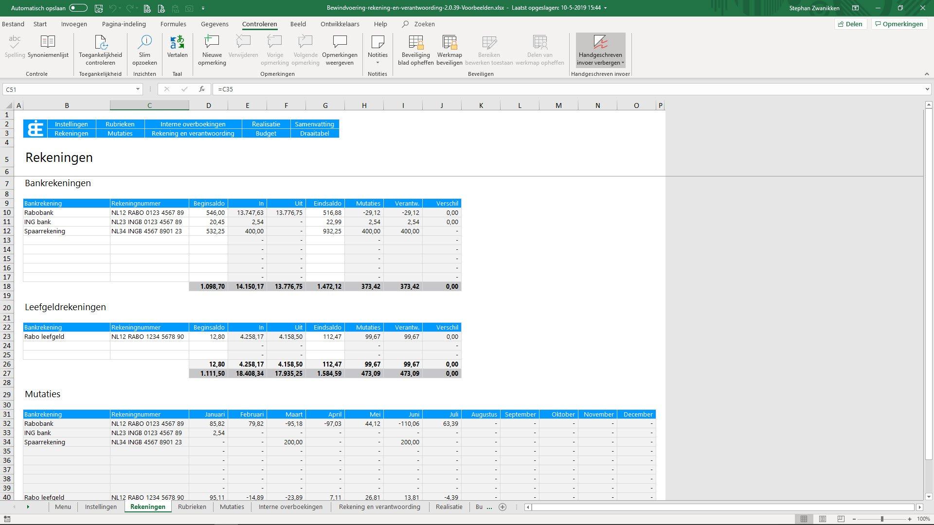 Bewindvoering in Excel - rekeningen invoeren