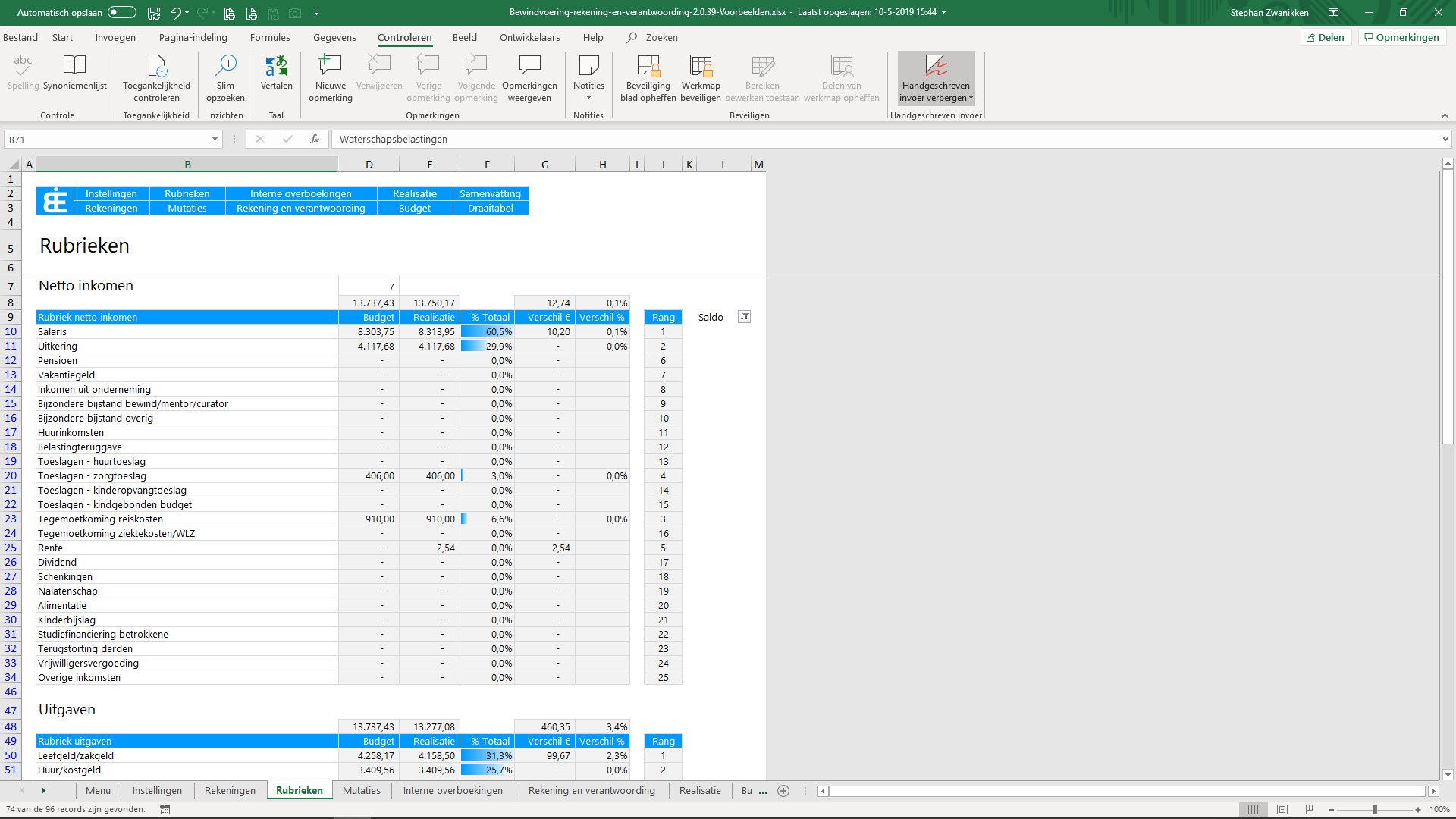 Bewindvoering in Excel - resultaten analyseren